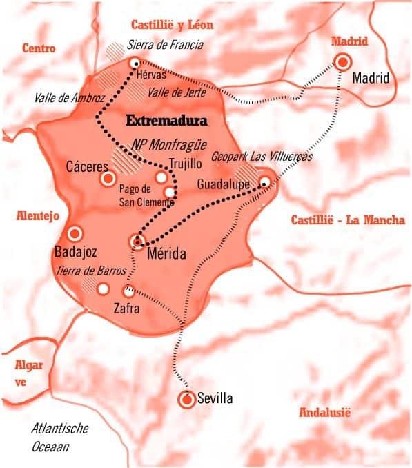 Kaart 12 daagse Rondreis Extremadura Spanje met verlenging
