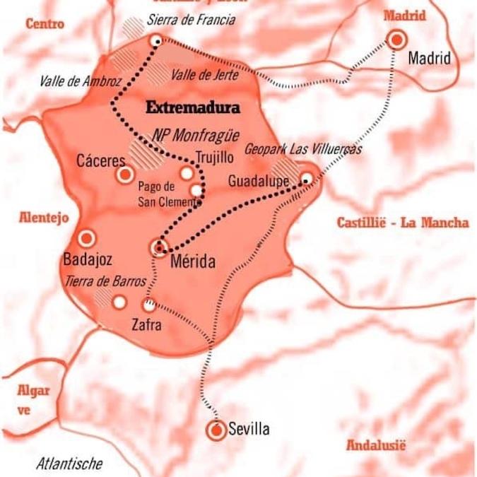 Kaart Fly Drive rondreis Extremadura