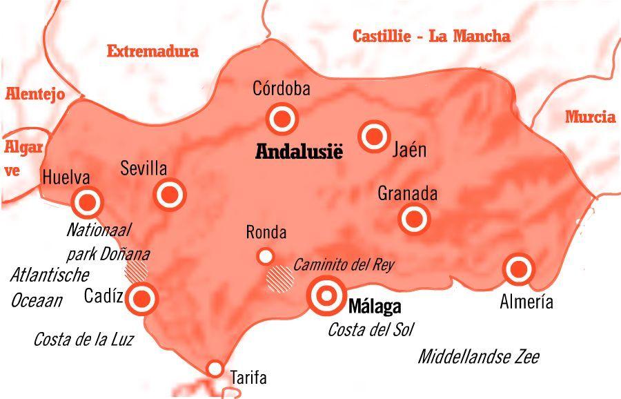Kaart stedentrip Málaga Andalusië