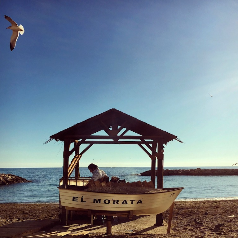 Geroosterde sardientjes op het strand bij Predegalejo