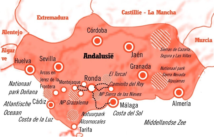 Kaart fly drive Málaga en omgeving, Andalusie 8 dagen