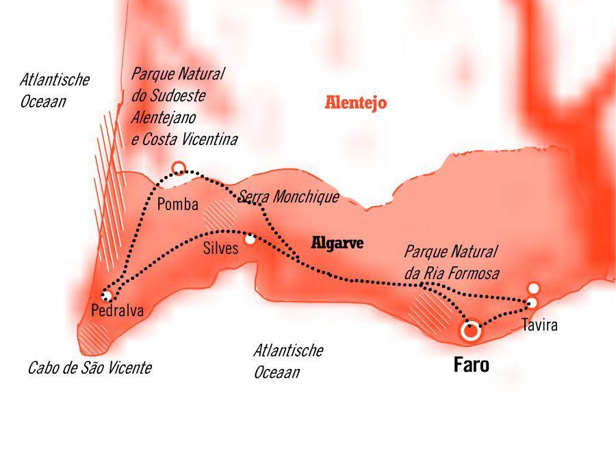 Kaart fly drive 8 dagen Algarve rondreis Zuid Portugal