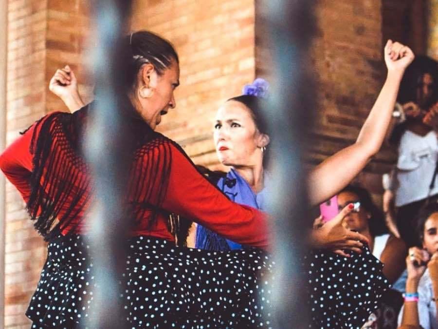 Flamenco op de Plaza España in Sevilla