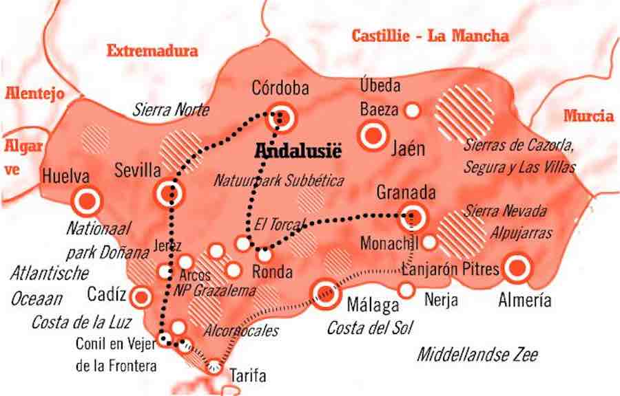 Kaart rondreis Andalusië Spanje 15 dagen Cultuur en Natuur