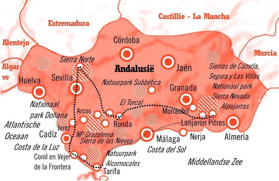 Route natuurreis Andalusië Spanje 15 dagen