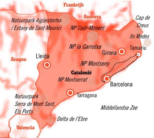 Kaart 8 daagse Fly&Drive Barcelona en de Costa Brava