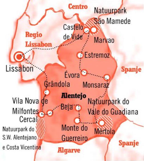 Kaart Fly Drive Alentejo Portugal 15 dagen