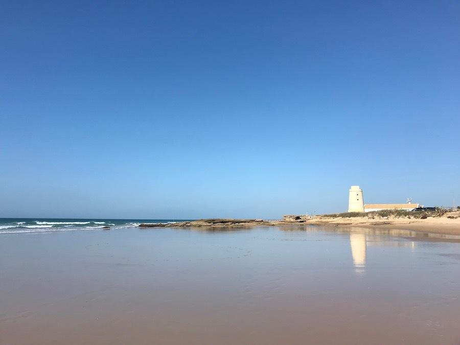 het strand van El Palmar bij Eb