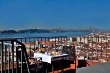 zicht op Lissabon en de taag vanuit het hotel in Alfama