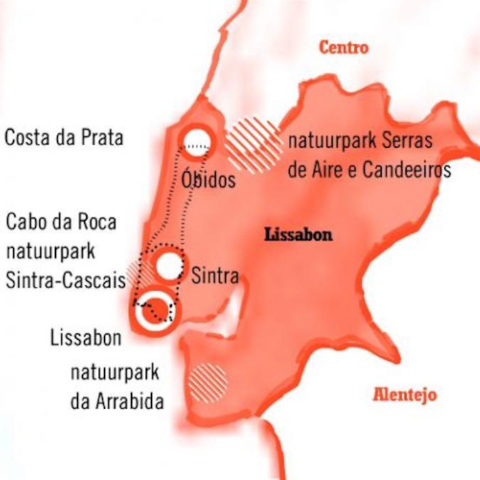 Kaart Fly Drive Lissabon Sintra Obidos Portugal