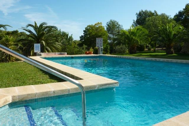 Het gemeenschappelijke zwembad met veel groen rondom