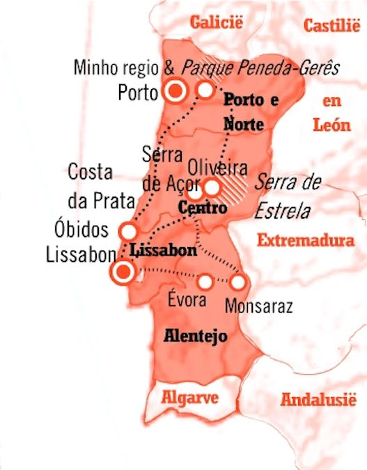 Kaart Rondreis Portugal 15 dagen natuur en cultuur