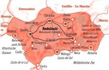 Kaart Fly Drive Andalusië 8 dagen Moorse koningssteden
