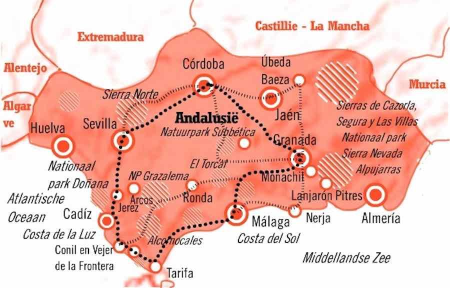 Kaart Fly Drive Andalusie 15 daagse rondreis Moorse Steden en de Costa de la Luz