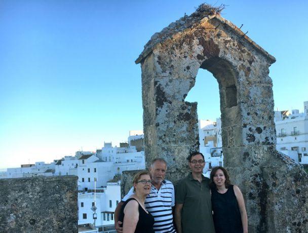 Met z\'n vieren in Vejer op de Torre de Mayorazgo