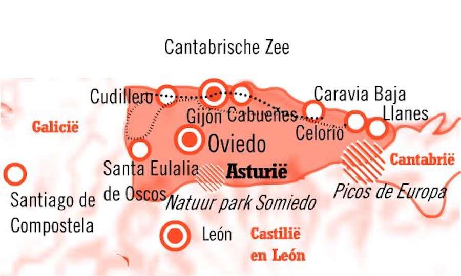 Kaart Fly Drive Asturie Casona en Casona 10 dagen