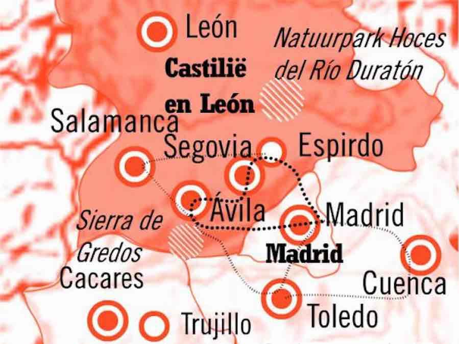 Kaart Fly Drive Segovia en Madrid