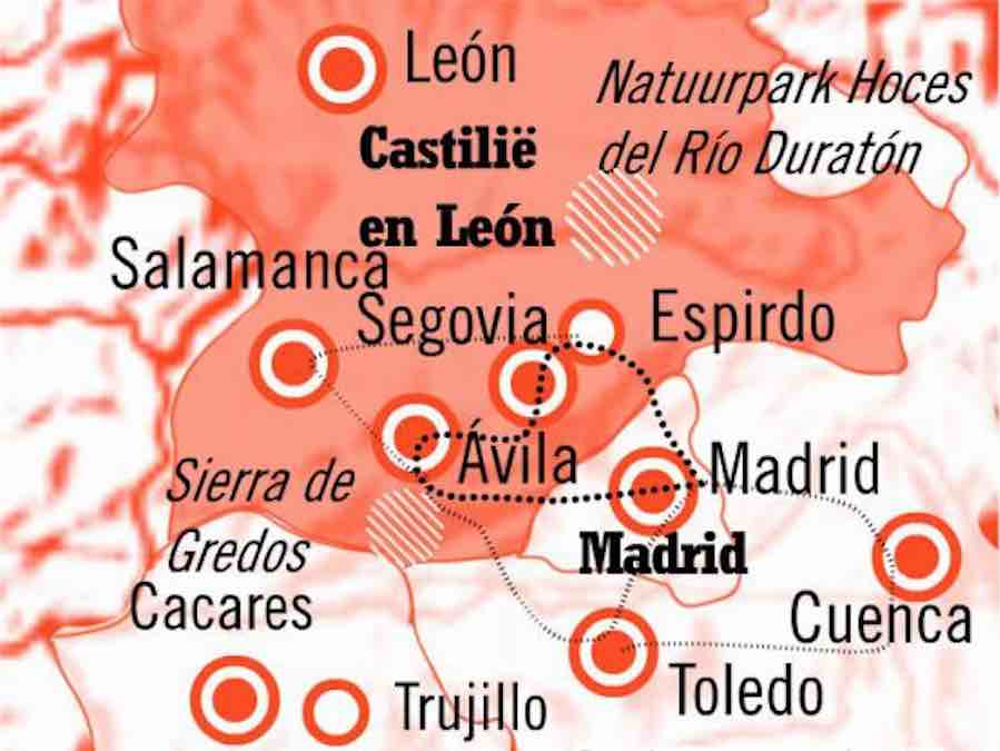 Kaart Rondreis Segovia en Madrid
