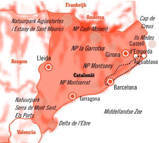 Kaart Fly drive 8 dagen catalonie in stijl