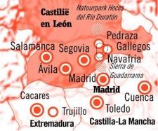 Kaart Route Wandelen met een Ezel Midden Spanje
