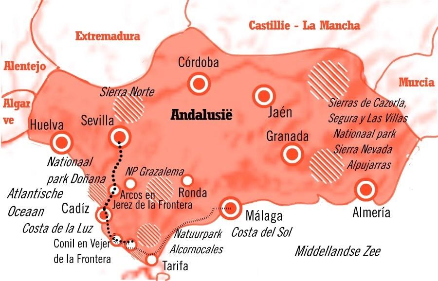 Kaart fly drive Sevilla en de Costa de la Luz Andalusie 8 dagen