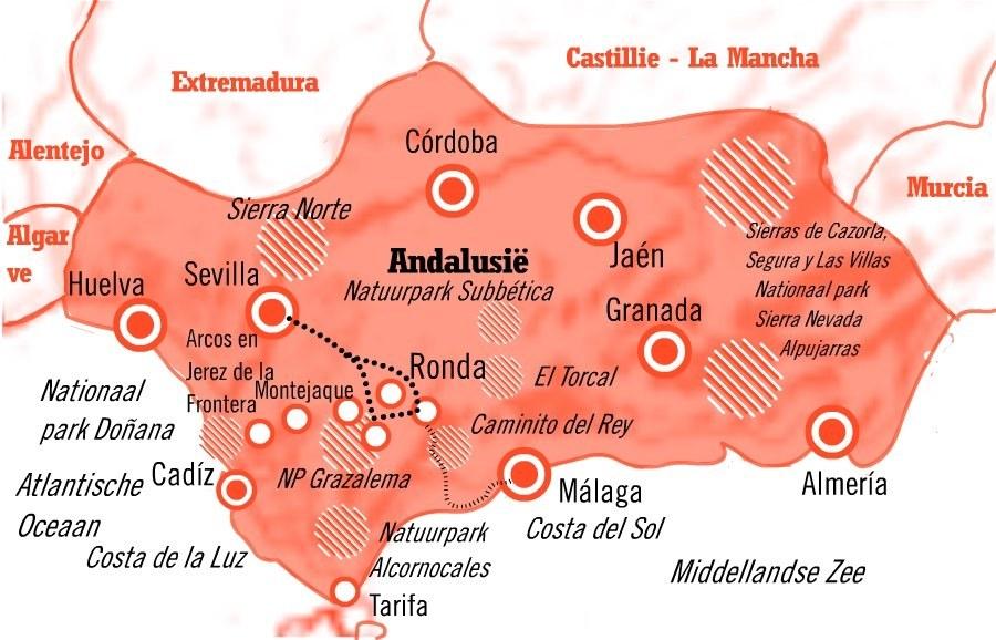 Kaart Fly Drive Sevilla, Ronda en Grazalema in  Andalusie: 8 dagen