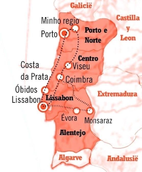 Kaart fly drive portugal 15 dagen cultuur en natuur