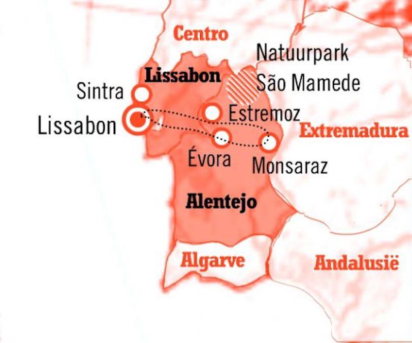 Kaart Fly Drive Portugal 8 dagen Lissabon en Alentejo