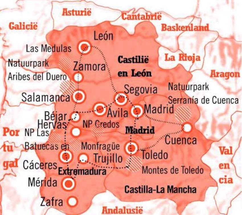 Kaart Rondreis Midden Spanje
