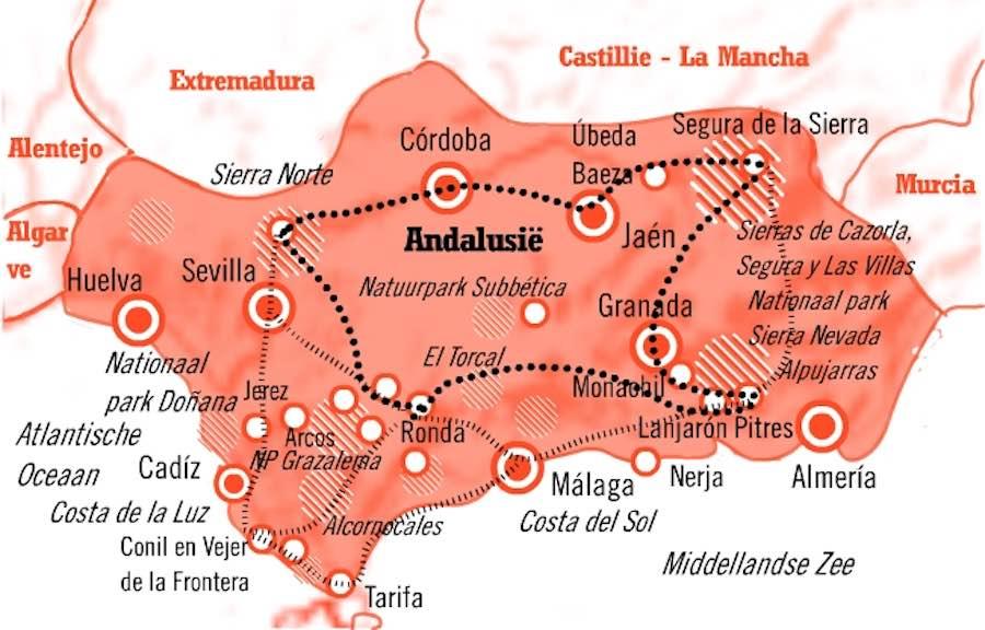 Kaart Fly Drive Andalusie 15 dagen Natuur en Cultuur