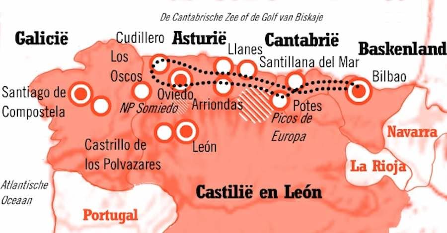 Kaart Fly Drive route Het Groene Spanje