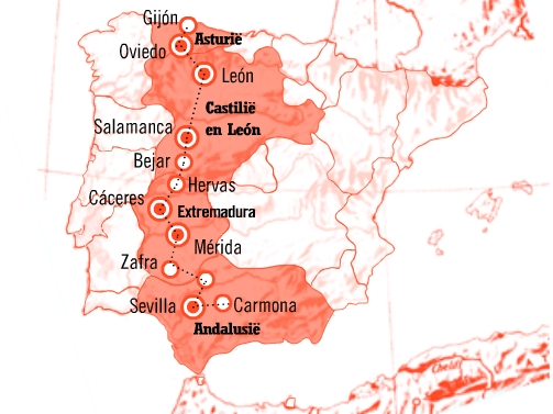 Kaart Ruta de la Plata (Zilverroute)
