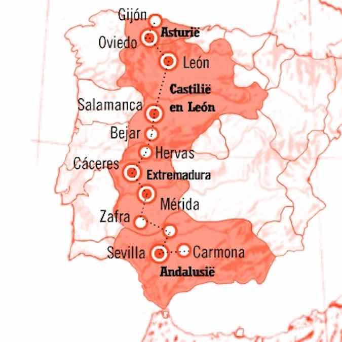 Kaart 15 daagse Fly Drive Zilverroute (Ruta de la Plata) Spanje
