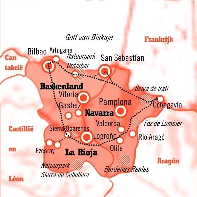 Kaart Rondreis La Rioja Navarra en Baskenland