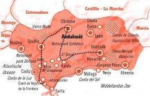 Kaart Andalusië rondreis  15 dagen Cultuur en Natuur