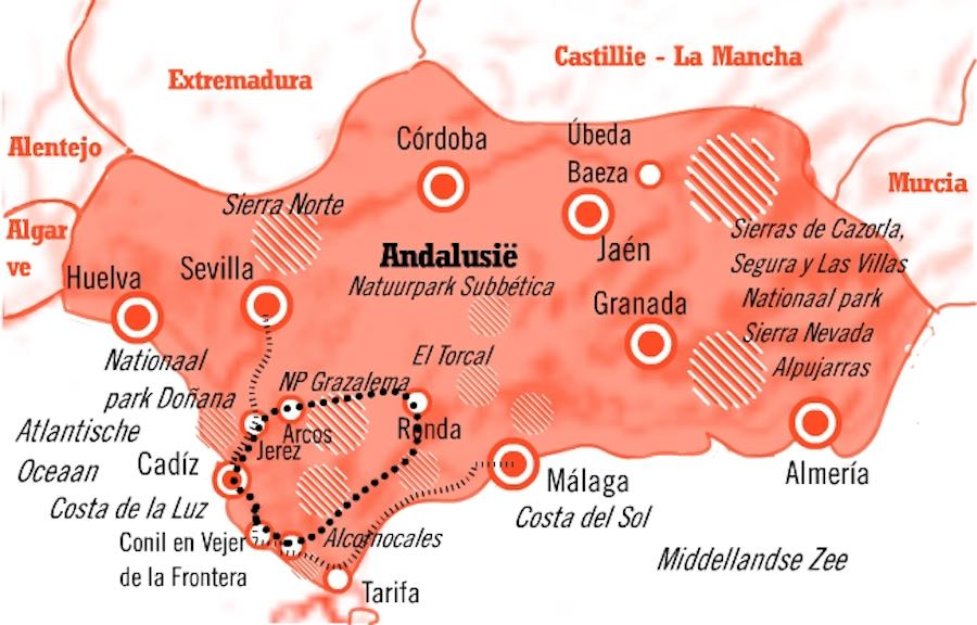 Kaart Fly Drive Andalusie 8 dagen Cádiz & Costa de la Luz