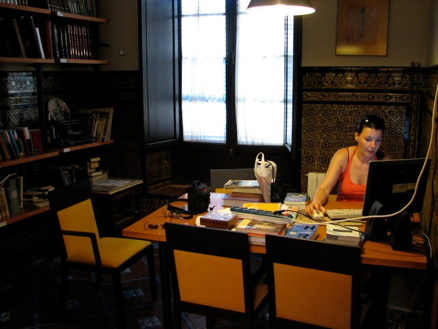 Stefanie in het hotel in Cordoba