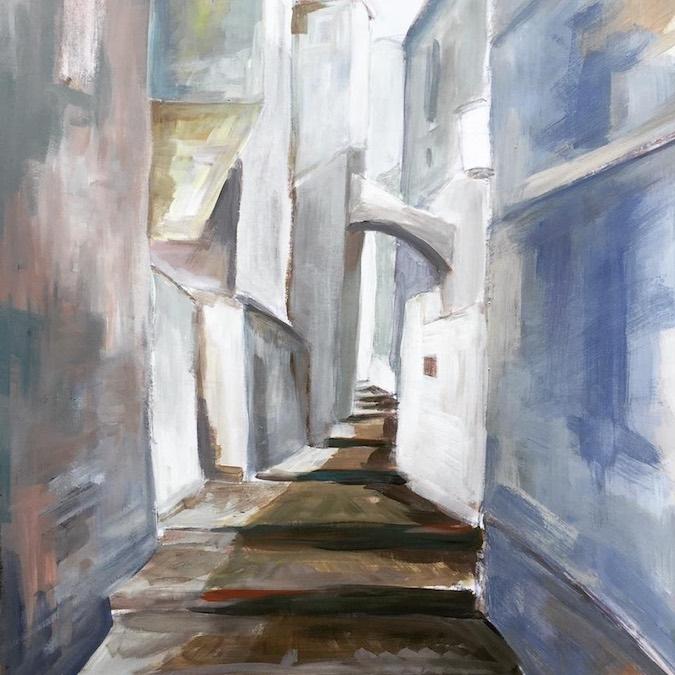 Een schilderij van een van de cursisten