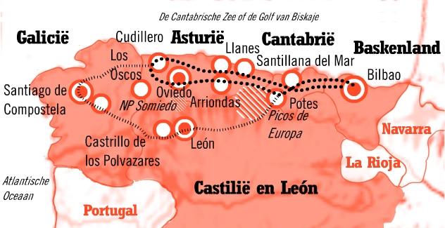 Kaart Fly en Drive Het Groene Spanje met verlenging Galicie of León