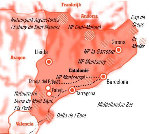 Kaart Fly drive 8 dagen bruisend barcelona en de priorat en valencia