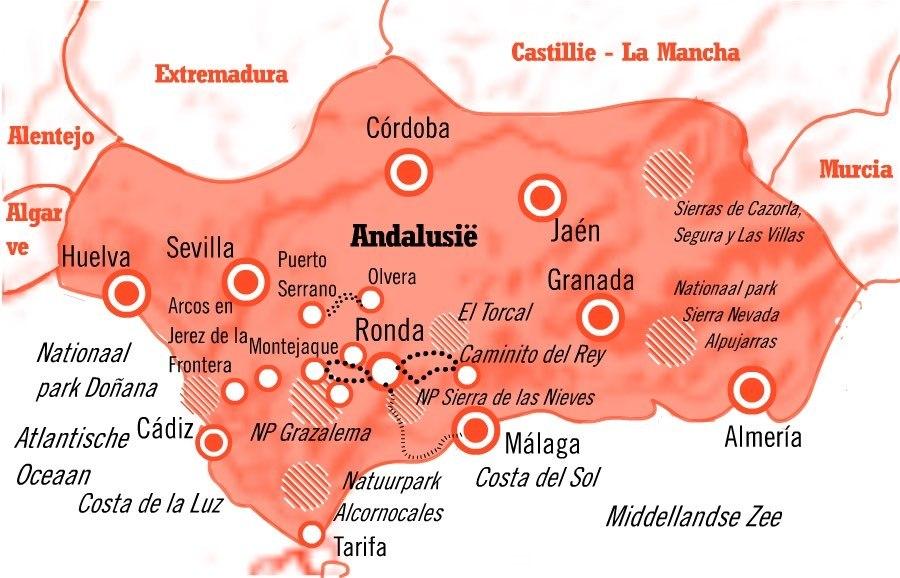Kaart Actief Ronda Andalusië 8 dagen